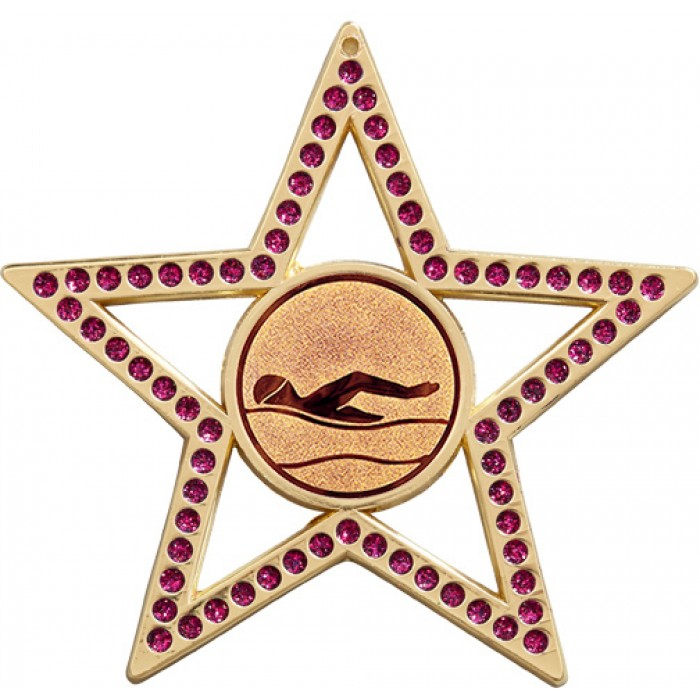 75MM STAR MEDAL -  SWIMMING  - PURPLE - GOLD, SILVER & BRONZE