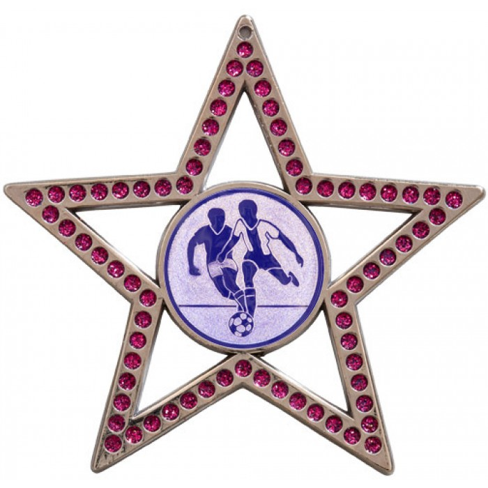 75MM STAR MEDAL - MALE FOOTBALL  - PURPLE - SILVER