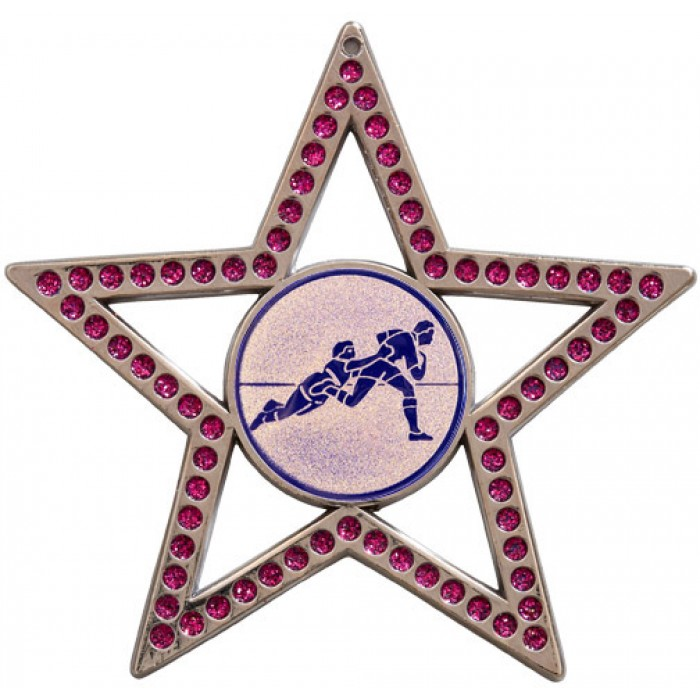 75MM STAR MEDAL -  RUGBY - PURPLE - SILVER