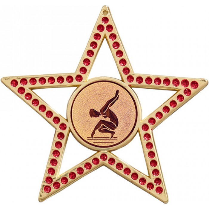 RED STAR FEMALE GYMNASTICS MEDAL -75MM -  GOLD, SILVER OR BRONZE