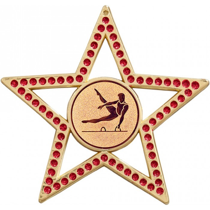 RED STAR MALE GYMNASTICS MEDAL - GOLD - 75MM -  SILVER OR BRONZE