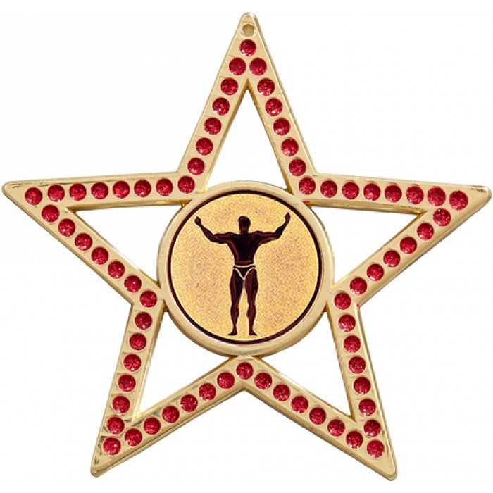 75MM STAR MEDAL - BODYBUILDING - RED- GOLD