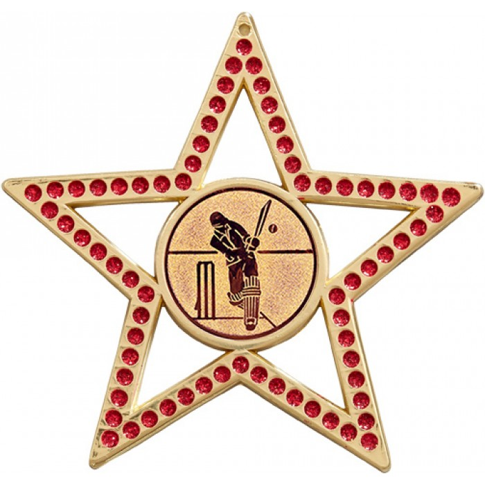 75MM RED STAR CRICKET MEDAL -  GOLD, SILVER, BRONZE