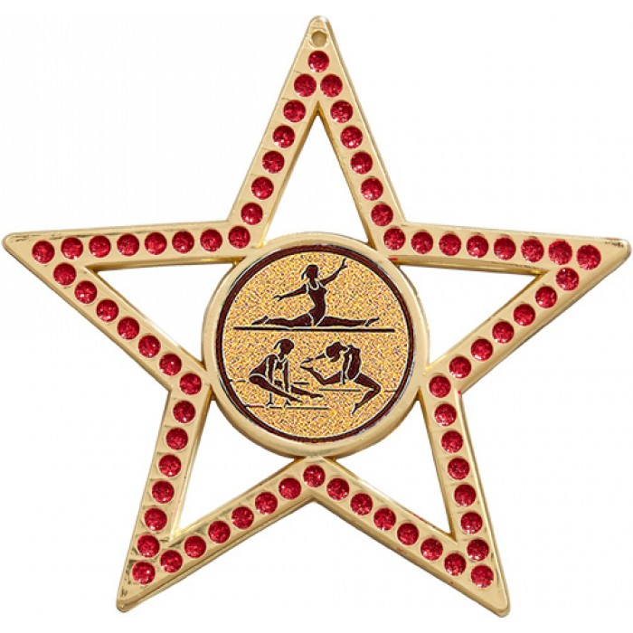 RED STAR FEMALE GYMNASTICS MEDAL - 75MM - GOLD, SILVER OR BRONZE