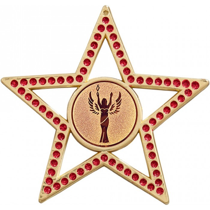 RED STAR MEDAL- 75MM- GOLD, SILVER, BRONZE