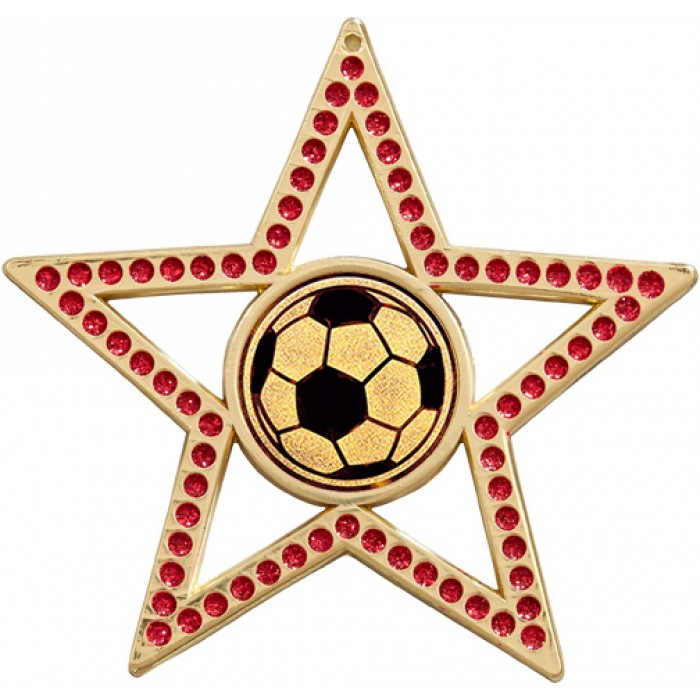 75MM RED STAR MEDAL - FOOTBALL - GOLD