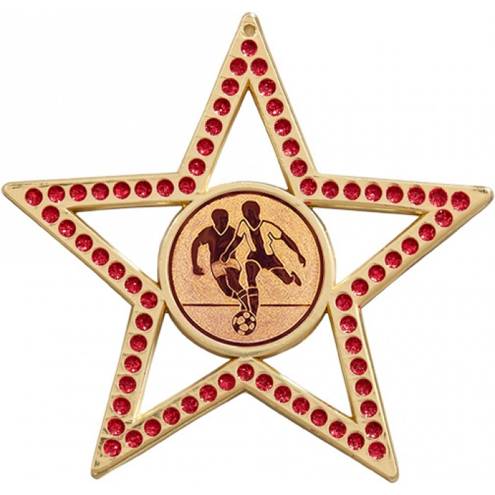 75MM STAR MEDAL - MALE FOOTBALL - RED- GOLD
