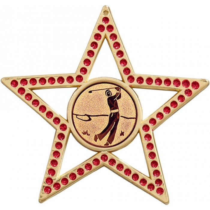 RED STAR GOLF MEDAL - 75MM- GOLD