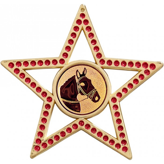 75MM STAR MEDAL - HORSE RIDING - RED- GOLD