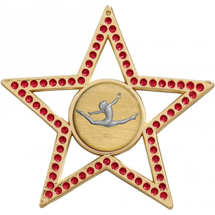 RED STAR GYMNASTICS MEDAL - 75MM - GOLD, SILVER, BRONZE