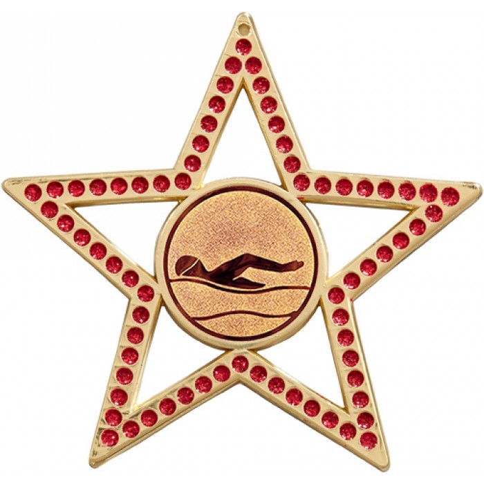 75MM STAR MEDAL - SWIMMING - RED- BRONZE