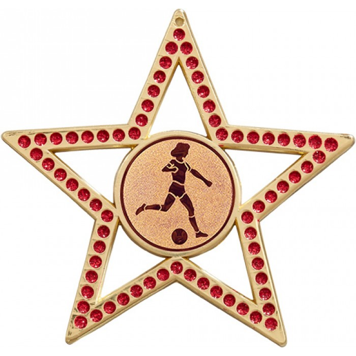 75MM FEMALE FOOTBALL STAR MEDAL - RED- GOLD