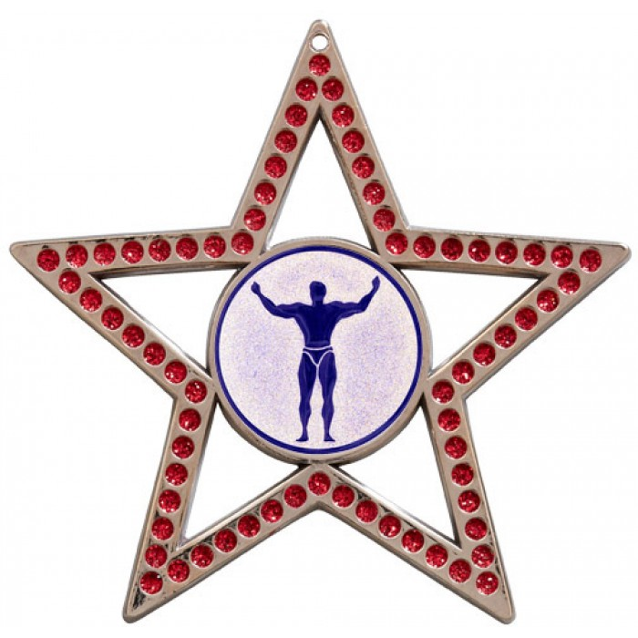 75MM STAR MEDAL - BODYBUILDING - RED- SILVER