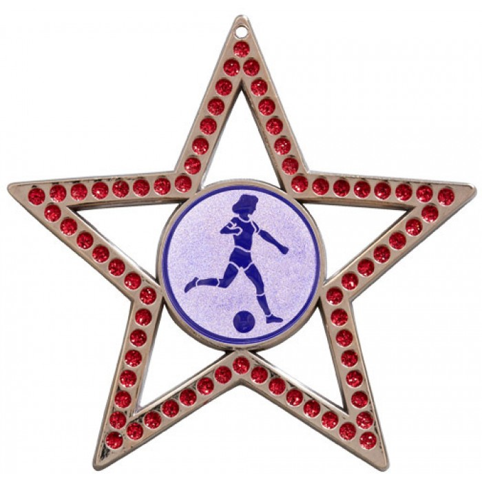 75MM FEMALE FOOTBALL STAR MEDAL - RED- SILVER