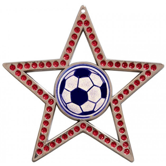 75MM RED STAR MEDAL - FOOTBALL - SILVER