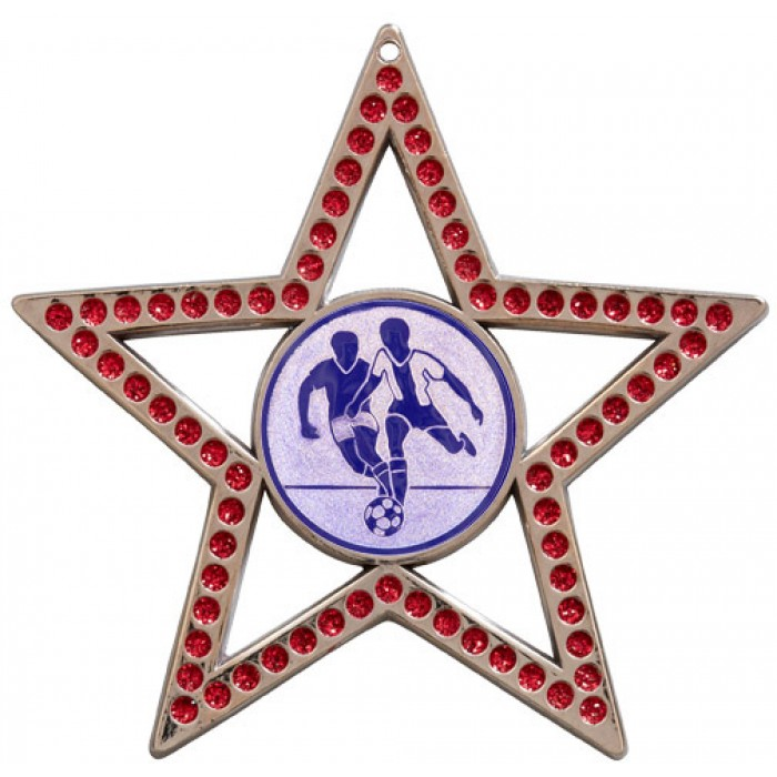 75MM STAR MEDAL - MALE FOOTBALL - RED- SILVER