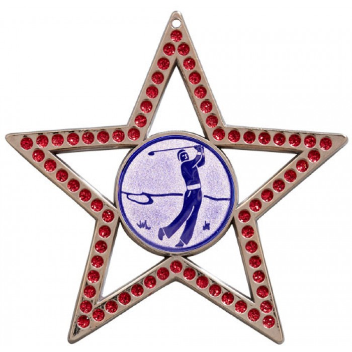 RED STAR GOLF MEDAL - 75MM- SILVER