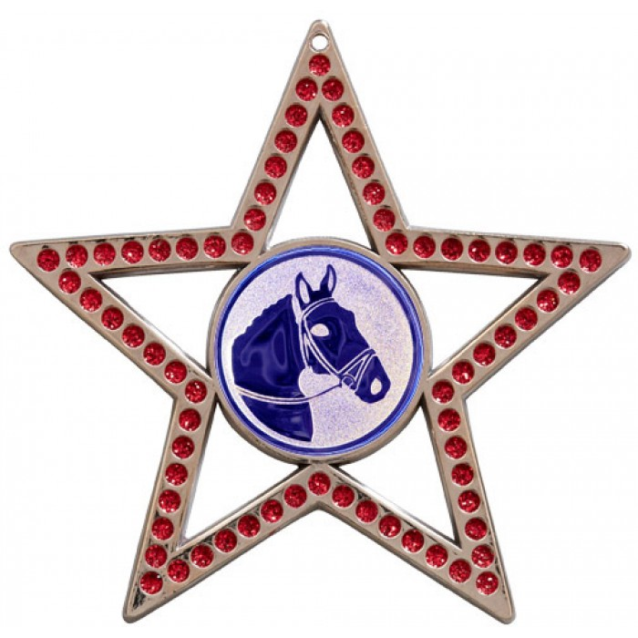 75MM STAR MEDAL - HORSE RIDING - RED- SILVER