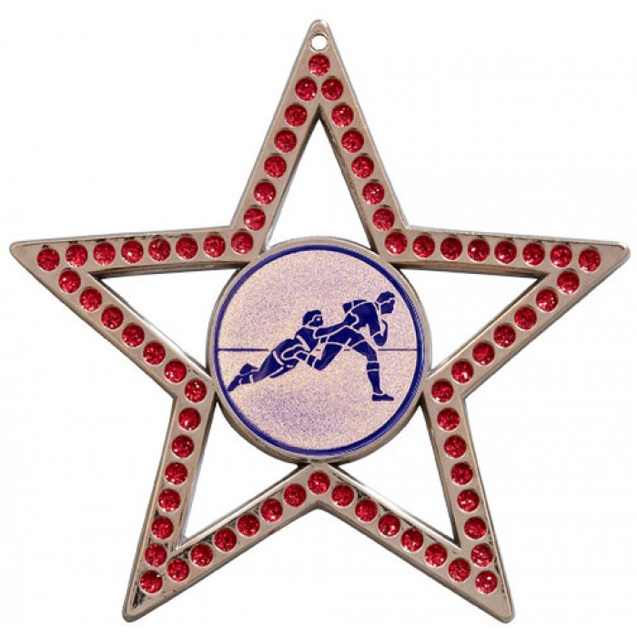 75MM STAR MEDAL - RUGBY - RED- SILVER