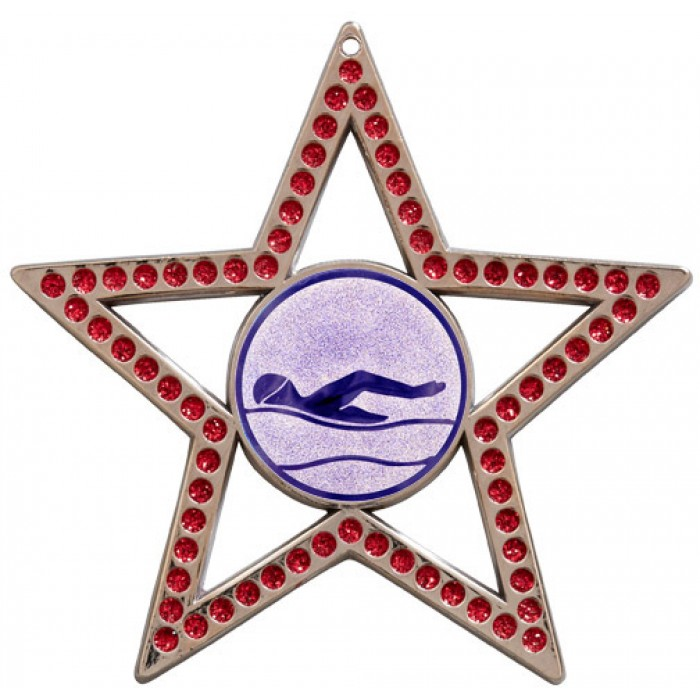75MM STAR MEDAL - SWIMMING - RED- SILVER