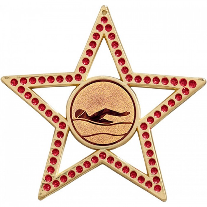 75MM STAR MEDAL - SWIMMING  - RED - GOLD, SILVER & BRONZE